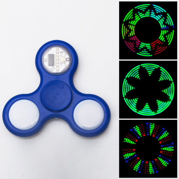 Advanced LED Light Fidget Spinner - Hand Spin Focus Toy, Stress Anxiety Relief, EDC Toy - Blue
