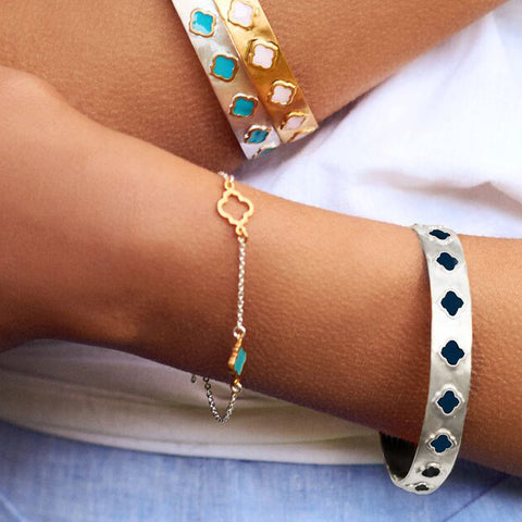 Mala Chain Bracelet Silver Gold Turquoise