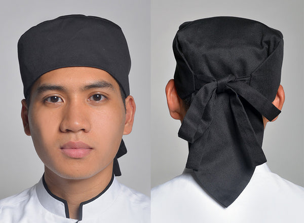 CHT009 Japanese Round Chef Hat with Self-Tie