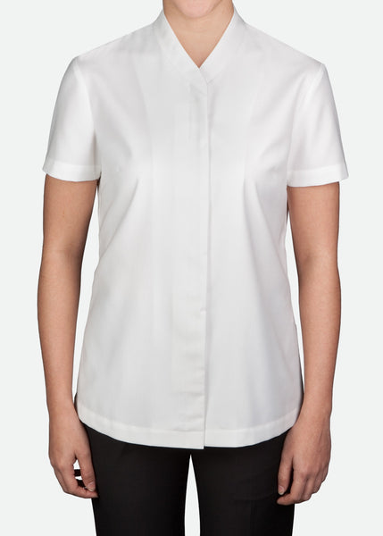 FBL011 Women's Blouse with Overlap Stand Collar