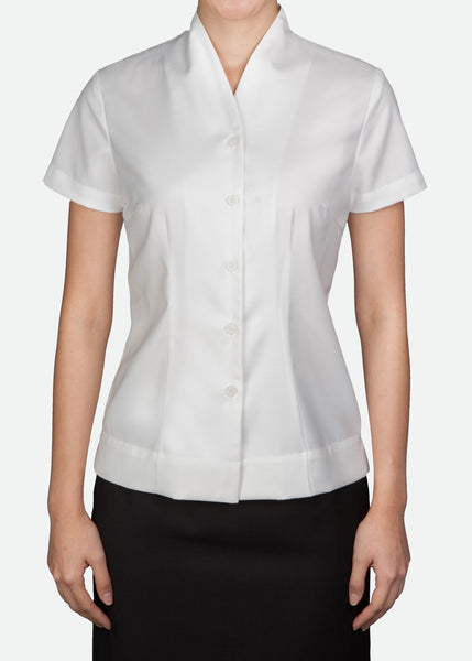 FBL012 Women's Buttoned Blouse with Stand Collar