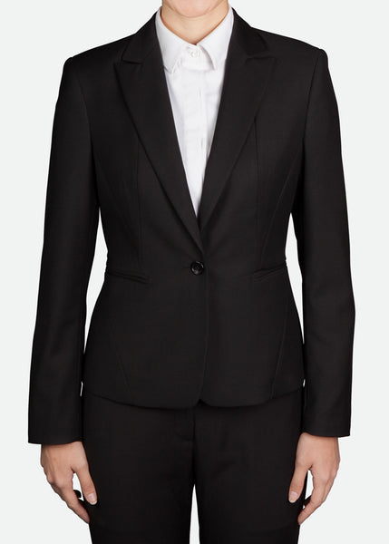 FBZ007 Women's Classic One-Button Jacket with Peak Lapel Regular Fit