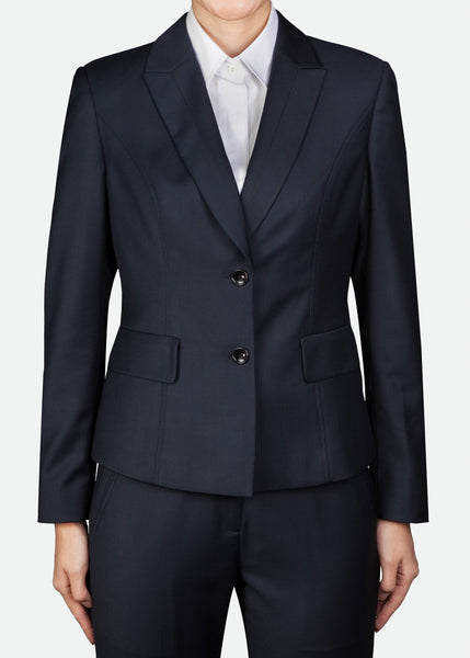 FBZ015 Women's Two-Button Jacket with Peak Lapel and Topstitch Details