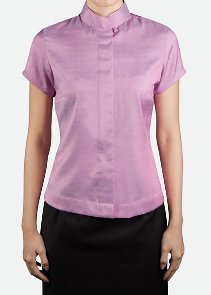 FST002 Women's Cap Sleeve Blouse with Mandarin Collar