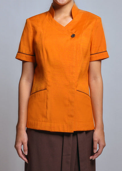 FST009 Women's Blouse with Piping Details