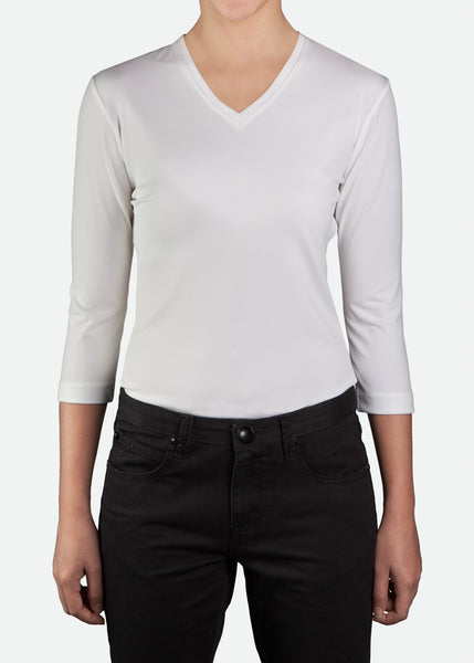 FTS001 Women's 3/4 Sleeve V-Neck T-Shirt [ CLEAR STOCKS ]