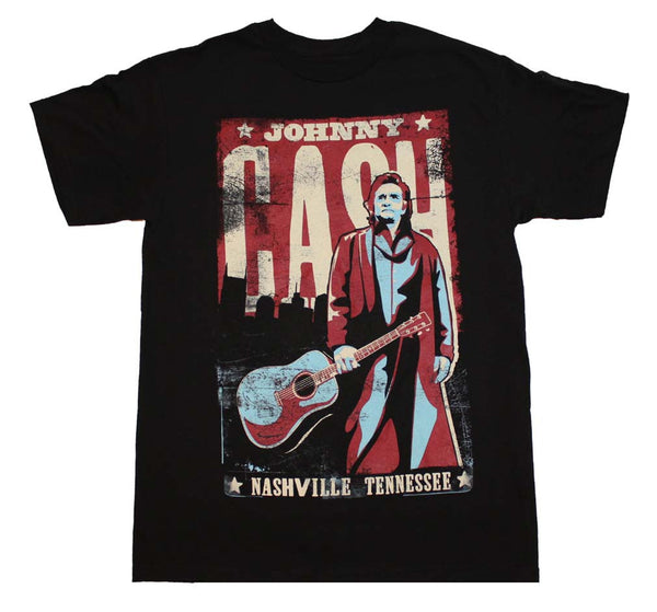 Johnny Cash T-Shirt Featuring Nashville Poster and its available at RockerTeeShirts.com