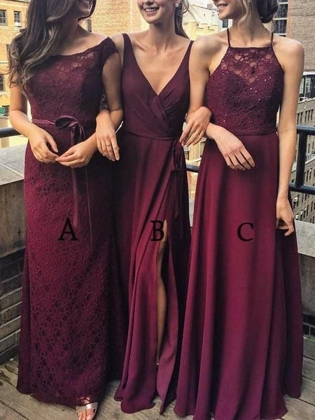 BohoProm Bridesmaid Dress A-line Bateau Floor-Length Chiffon Burgundy Bridesmaid Dresses HX00175