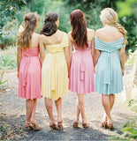 BohoProm Bridesmaid Dress A-line Sweetheart Knee Length Chiffon Simple Bridesmaid Dresses HX007
