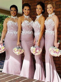 BohoProm Bridesmaid Dress Mermaid Halter Floor-Length Satin Appliqued Bridesmaid Dresses ASD26766
