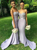 BohoProm Bridesmaid Dress Mermaid Sweetheart Sweep Train Satin Appliqued Bridesmaid Dresses ASD2698
