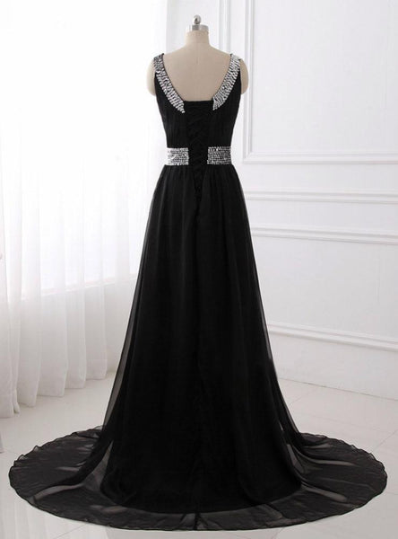 BohoProm prom dresses A-line Scoop-Neck Sweep Train Tulle Black Prom Dresses With Sequins ASD27098