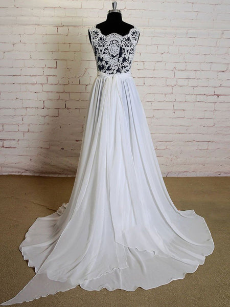 BohoProm Wedding Dresses A-line Lace Appliqued Sexy See Through Summer Beach Wedding Dresses 3018