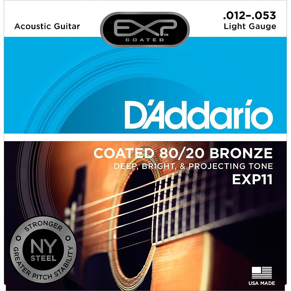 D'Addario EXP11 Light EXP Coated Acoustic Guitar Strings (12-53)