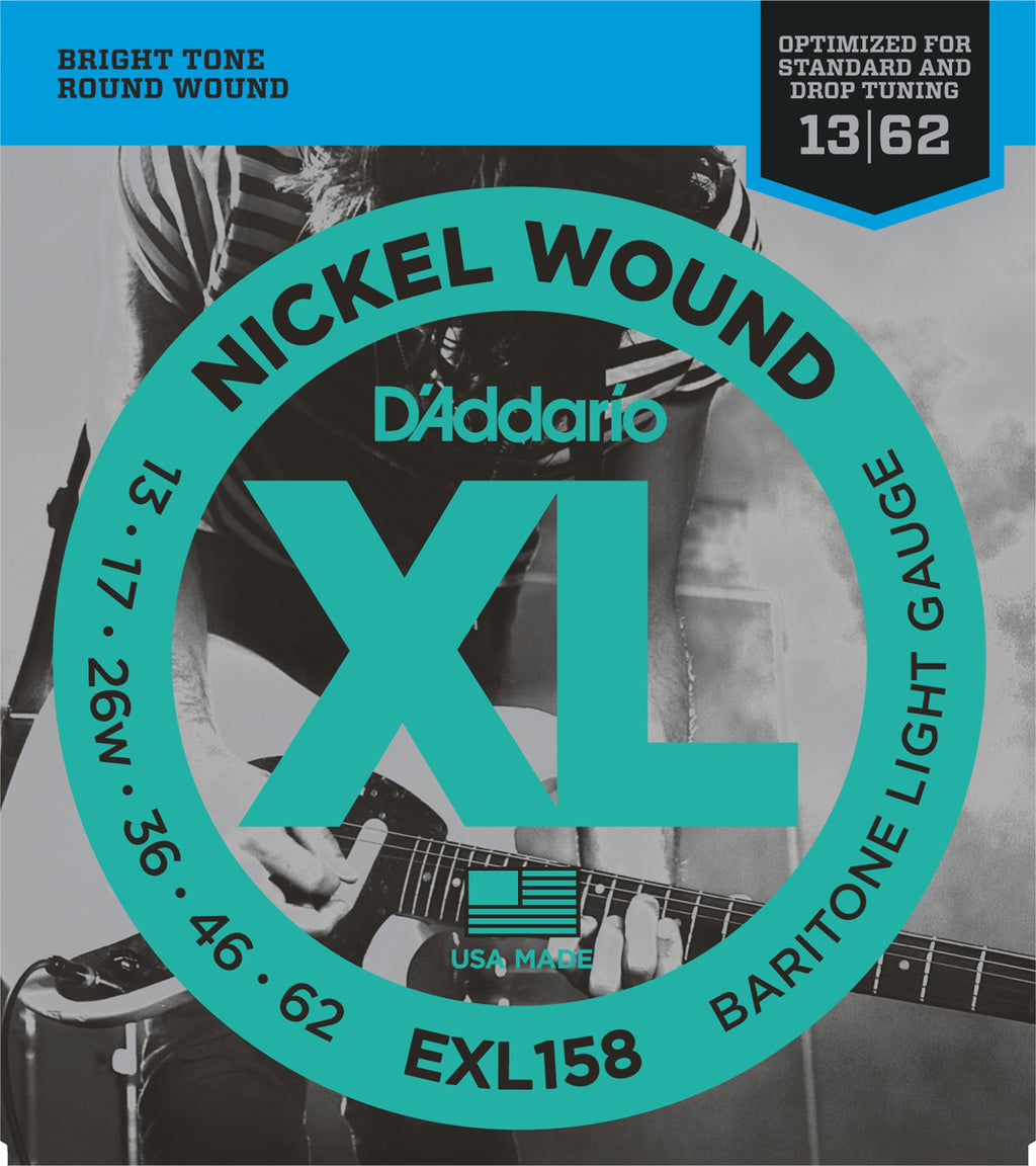 D'Addario EXL158 Baritone Light Nickel Wound Electric Guitar Strings (13-62)