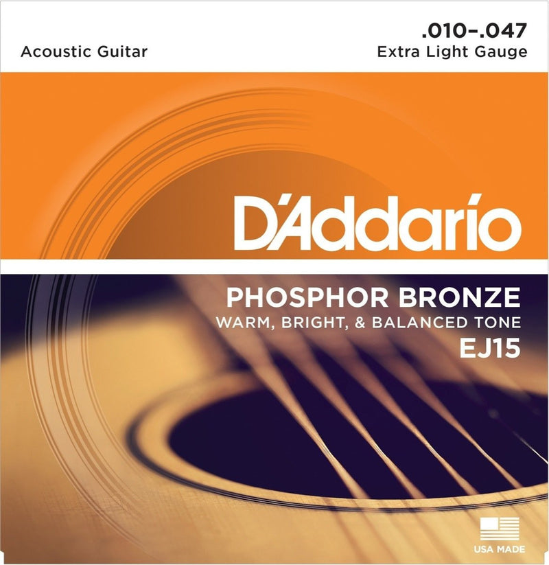 D'Addario EJ15 Extra Light Phosphor Bronze Acoustic Guitar Strings (10-47)