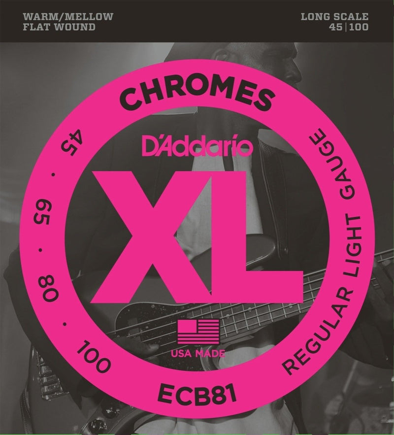 D'Addario ECB81 Regular Light Chromes Flat Wound Bass Strings (45-100)
