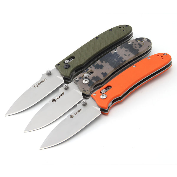 GANZO G704 Pocket Camping Knife Orange G10 Handle 440C Steel Folding Knife