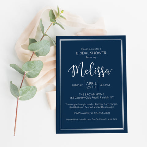 Modern Navy Bridal Shower Invitation