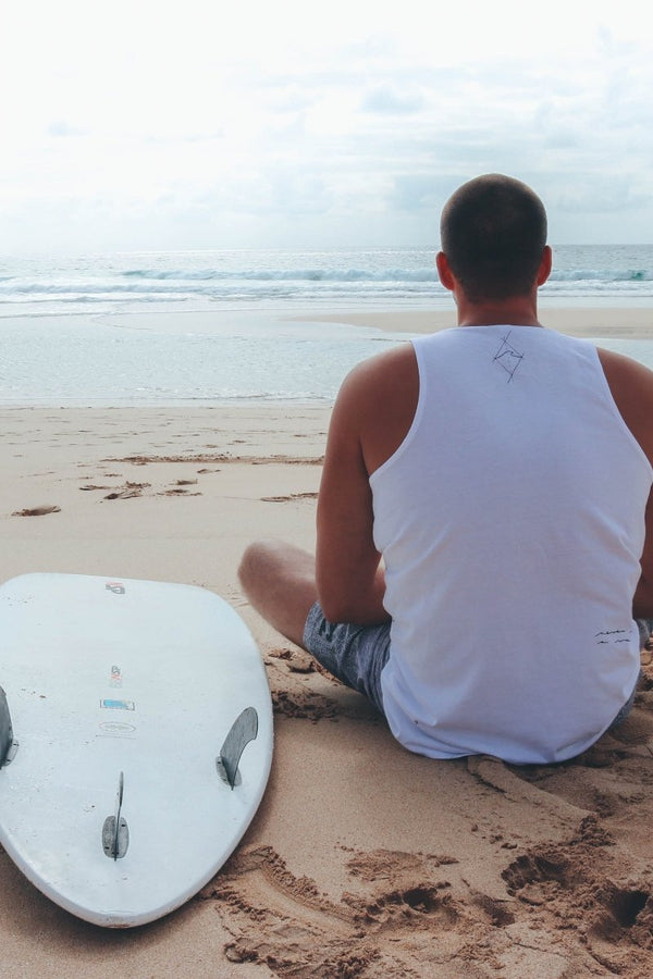 MANAWAI WEAR // SURF TATTOOS MENS TANK TOP - WHITE