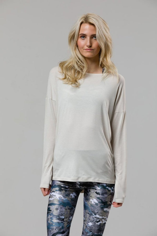 SEA YOGI // Diamond back yoga top in Ivory by Onzie, front