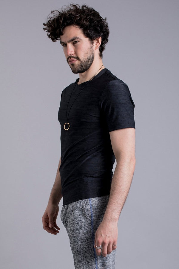 SEA YOGI // Cobra Yoga Shirt for Men in Black by Ohmme, Online Yoga Shop, left side