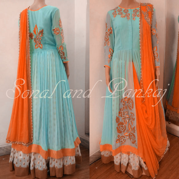Beautiful Pure Georgette 3 Piece Indowestern Including Jacket Lehenga & Duppatta- IW00182