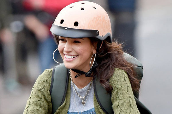 British actress Michelle Keegan with Sawako bicycle helmet