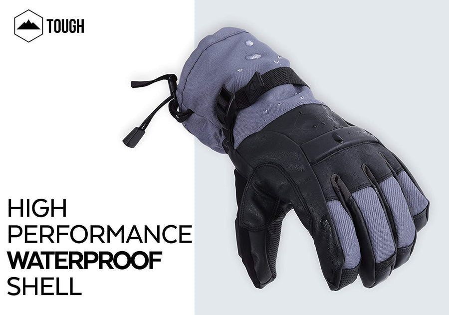 Gray Shredder Ski Gloves