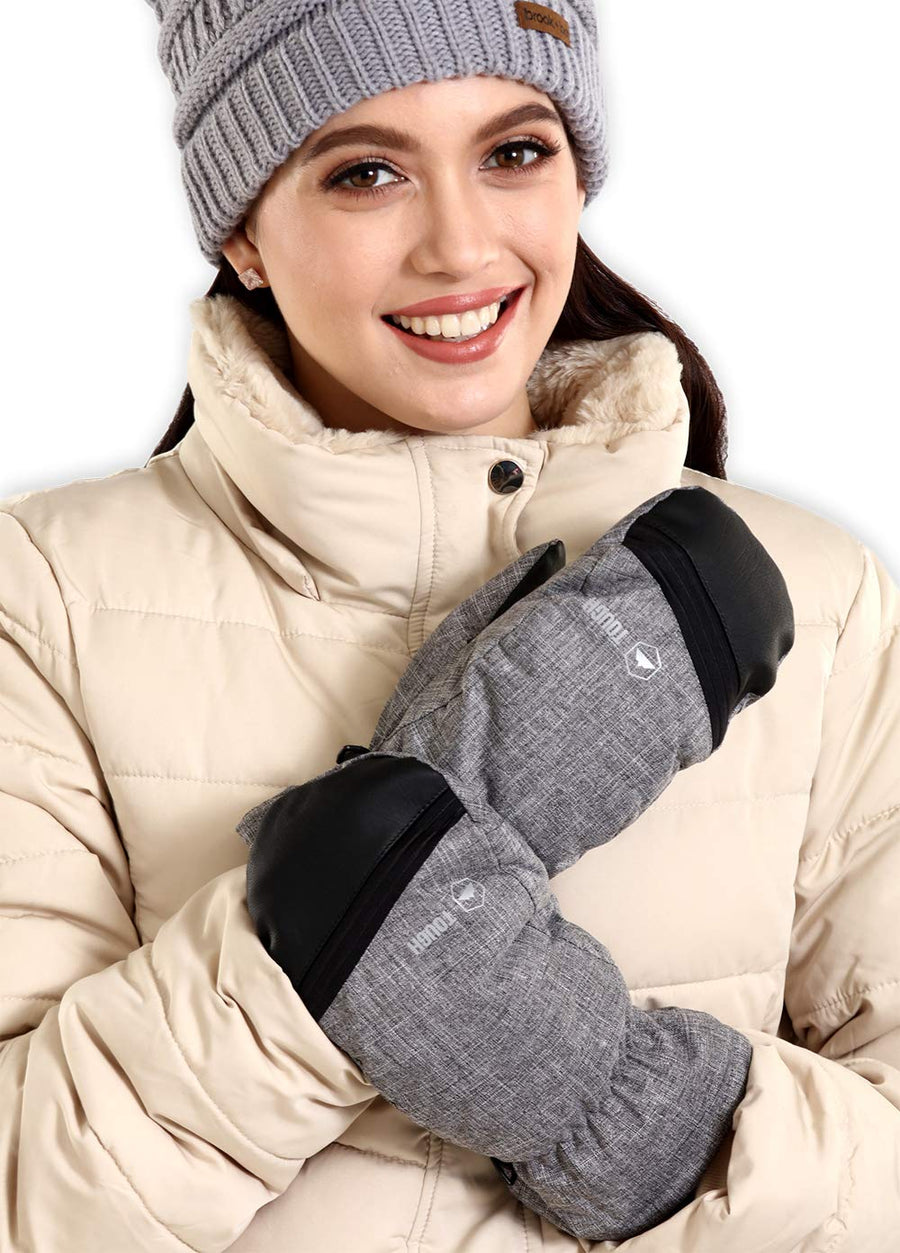 Leather Grip Womens Ski Mittens