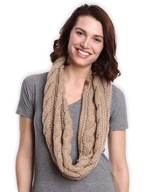 Chunky Cable Knit Infinity Scarf by Tough Headwear - Stay Warm & Stylish Year Round - Circle Loop Scarves for Women & Men
