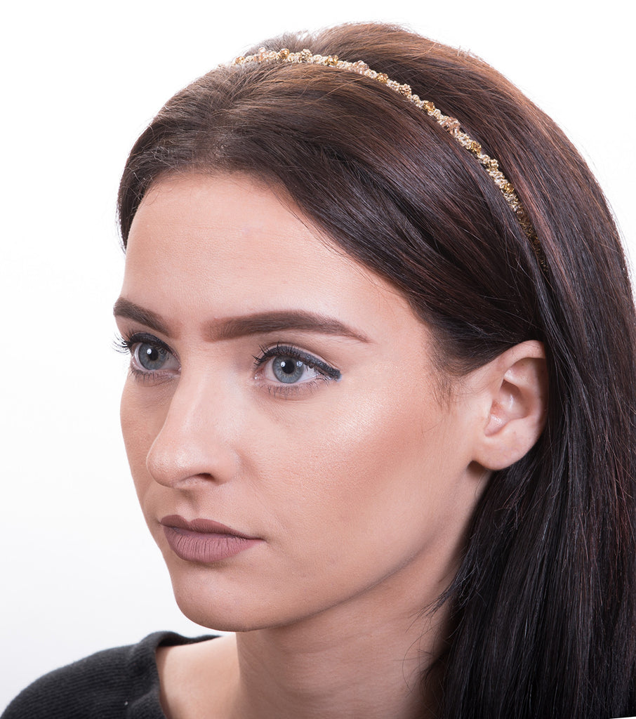 Intertwined Metallic Thread Headband, Yellow