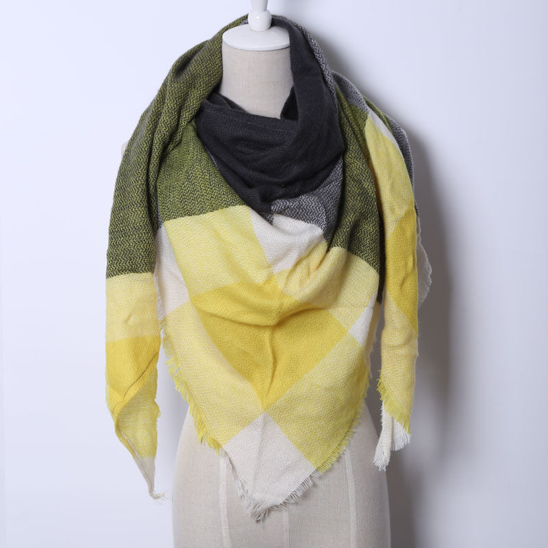 Triangle Scarf Pashmina With Fringe, Yellow