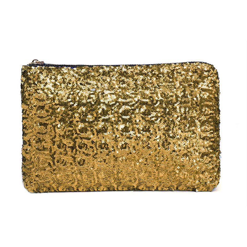 Sequin Clutch Handbag, Gold