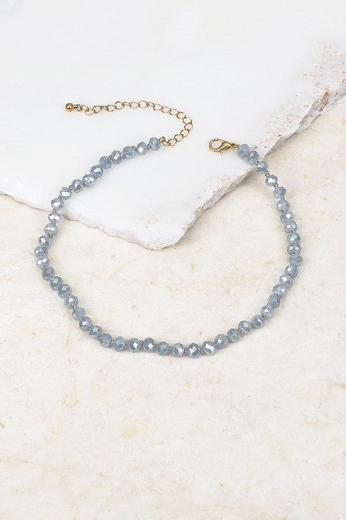 Glass & Beaded Choker, Grey