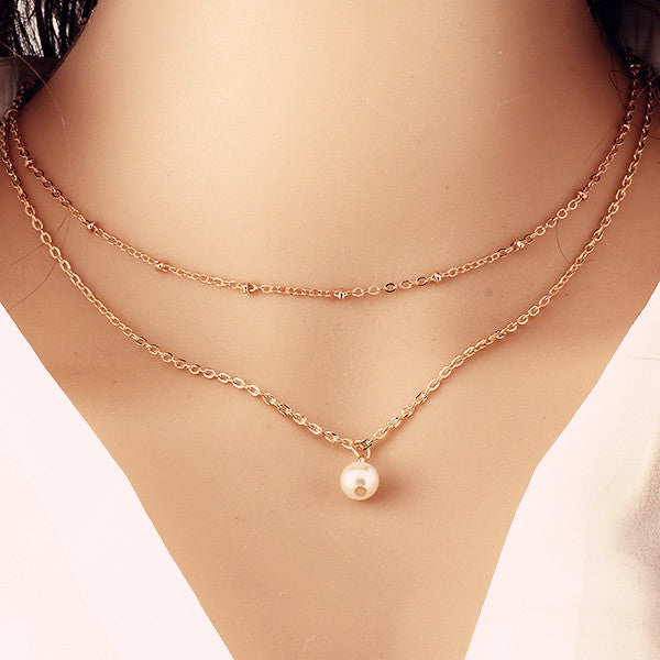 Double Chain Choker With Pearl