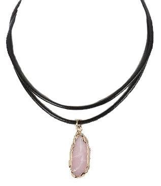 Natural Stone Charm Choker Necklace, Pink