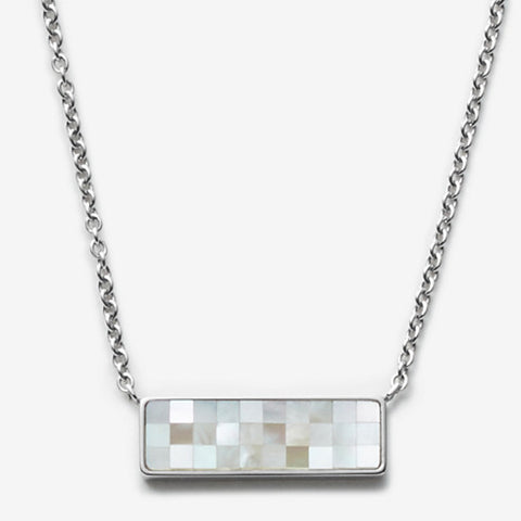 Agnethe Silver-Tone Mother-of-Pearl Mosaic Pendant Necklace