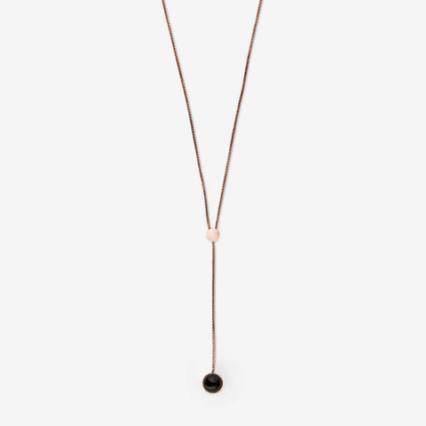 Ellen Rose-Tone and Onyx Lariat Necklace