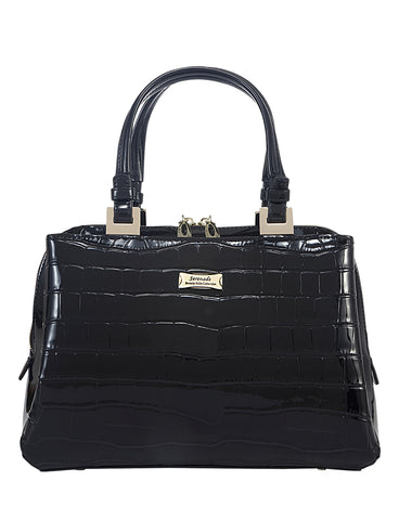 Pandora triple compartment Leather Handbag- Black