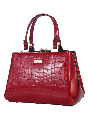 Pandora triple compartment Leather Handbag- red
