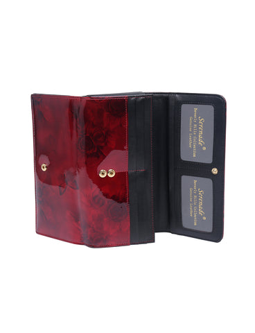 Serenade Beverly Hills Collection Cherry Rose Large Leather Wallet with RFID- Gold fittings
