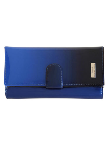 Monica Azure Large Leather Wallet with RFID