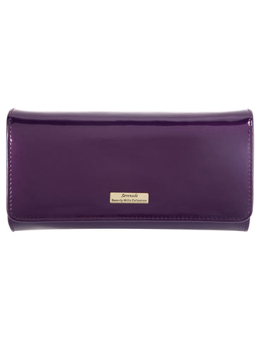 Allura Large Patent Leather Wallet with RFID- Purple