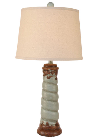 Farmhouse Style Table Lamps - Aged Seaside Villa Carousel Accent Lamp
