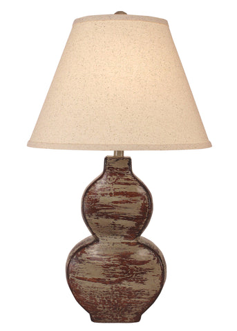 Rustic Table Lamps - Heavy Aged Pale Grey Flat Hour Glass Table Lamp