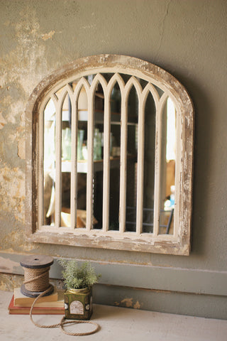Wood Framed Arched Mirror