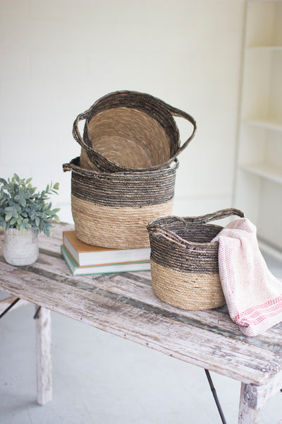Set Of Three Black And Natural Baskets