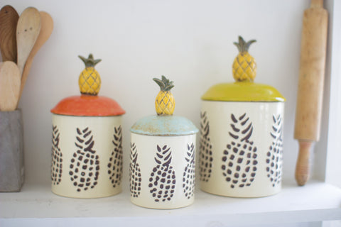 Set Of Three Ceramic Pineapple Canisters