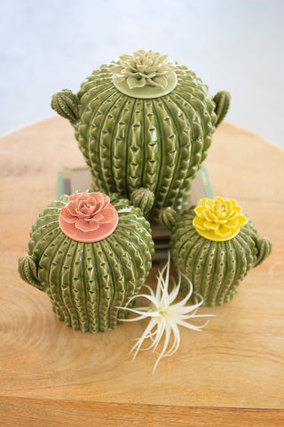 Set Of Three Cactus Canisters W/ Flower Tops